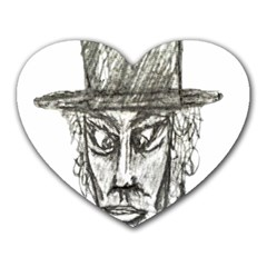 Man With Hat Head Pencil Drawing Illustration Heart Mousepads