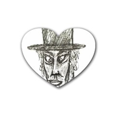 Man With Hat Head Pencil Drawing Illustration Heart Coaster (4 pack)