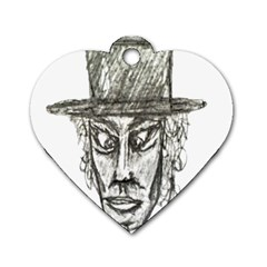 Man With Hat Head Pencil Drawing Illustration Dog Tag Heart (One Side)