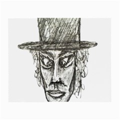 Man With Hat Head Pencil Drawing Illustration Small Glasses Cloth (2-Side)