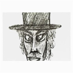 Man With Hat Head Pencil Drawing Illustration Large Glasses Cloth (2-Side)
