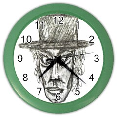 Man With Hat Head Pencil Drawing Illustration Color Wall Clocks