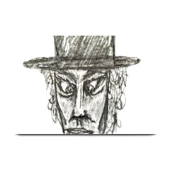 Man With Hat Head Pencil Drawing Illustration Plate Mats