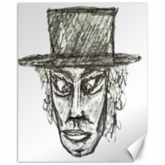 Man With Hat Head Pencil Drawing Illustration Canvas 11  x 14