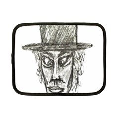 Man With Hat Head Pencil Drawing Illustration Netbook Case (Small)