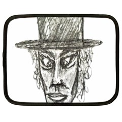 Man With Hat Head Pencil Drawing Illustration Netbook Case (Large)