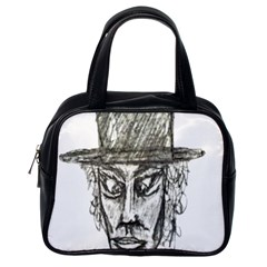 Man With Hat Head Pencil Drawing Illustration Classic Handbags (One Side)