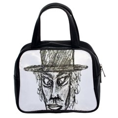 Man With Hat Head Pencil Drawing Illustration Classic Handbags (2 Sides)