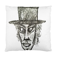 Man With Hat Head Pencil Drawing Illustration Standard Cushion Case (One Side)