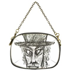 Man With Hat Head Pencil Drawing Illustration Chain Purses (Two Sides)