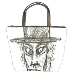 Man With Hat Head Pencil Drawing Illustration Bucket Bags