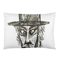 Man With Hat Head Pencil Drawing Illustration Pillow Case