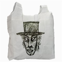 Man With Hat Head Pencil Drawing Illustration Recycle Bag (One Side)