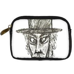 Man With Hat Head Pencil Drawing Illustration Digital Camera Cases