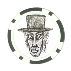 Man With Hat Head Pencil Drawing Illustration Poker Chip Card Guards (10 pack)