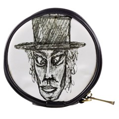 Man With Hat Head Pencil Drawing Illustration Mini Makeup Bags