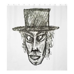 Man With Hat Head Pencil Drawing Illustration Shower Curtain 66  x 72  (Large)
