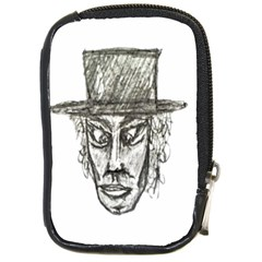 Man With Hat Head Pencil Drawing Illustration Compact Camera Cases