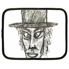 Man With Hat Head Pencil Drawing Illustration Netbook Case (XL)