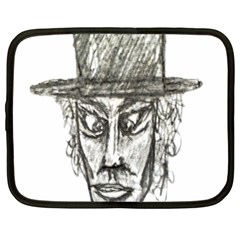 Man With Hat Head Pencil Drawing Illustration Netbook Case (XXL)