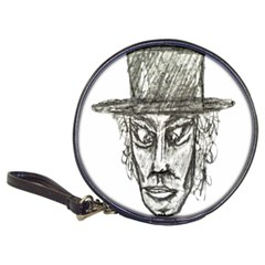 Man With Hat Head Pencil Drawing Illustration Classic 20-CD Wallets