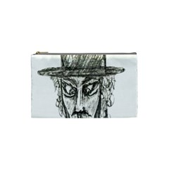 Man With Hat Head Pencil Drawing Illustration Cosmetic Bag (Small)