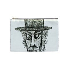 Man With Hat Head Pencil Drawing Illustration Cosmetic Bag (Medium)