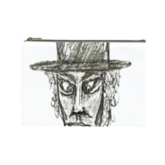 Man With Hat Head Pencil Drawing Illustration Cosmetic Bag (Large)