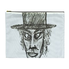 Man With Hat Head Pencil Drawing Illustration Cosmetic Bag (XL)