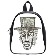 Man With Hat Head Pencil Drawing Illustration School Bags (Small)