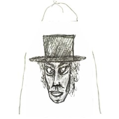 Man With Hat Head Pencil Drawing Illustration Full Print Aprons