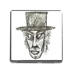 Man With Hat Head Pencil Drawing Illustration Memory Card Reader (Square)