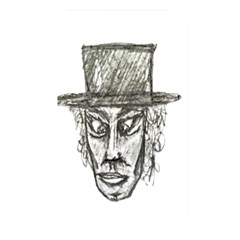 Man With Hat Head Pencil Drawing Illustration Memory Card Reader
