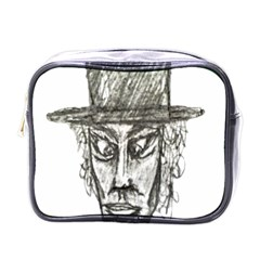 Man With Hat Head Pencil Drawing Illustration Mini Toiletries Bags