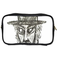 Man With Hat Head Pencil Drawing Illustration Toiletries Bags