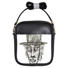 Man With Hat Head Pencil Drawing Illustration Girls Sling Bags