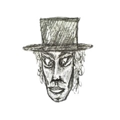 Man With Hat Head Pencil Drawing Illustration 5.5  x 8.5  Notebooks