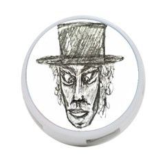 Man With Hat Head Pencil Drawing Illustration 4-Port USB Hub (One Side)