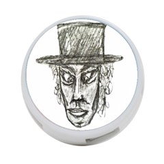 Man With Hat Head Pencil Drawing Illustration 4-Port USB Hub (Two Sides)