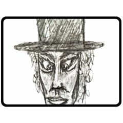Man With Hat Head Pencil Drawing Illustration Fleece Blanket (Large)