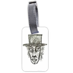 Man With Hat Head Pencil Drawing Illustration Luggage Tags (One Side)