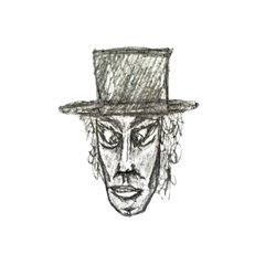 Man With Hat Head Pencil Drawing Illustration Shower Curtain 48  x 72  (Small)