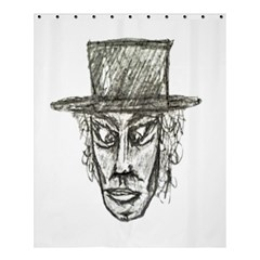 Man With Hat Head Pencil Drawing Illustration Shower Curtain 60  x 72  (Medium)