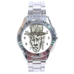 Man With Hat Head Pencil Drawing Illustration Stainless Steel Analogue Watch