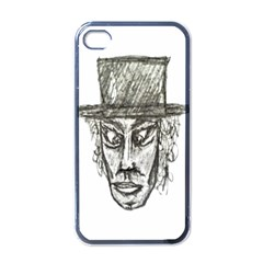 Man With Hat Head Pencil Drawing Illustration Apple iPhone 4 Case (Black)