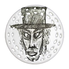 Man With Hat Head Pencil Drawing Illustration Ornament (Round Filigree)