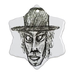 Man With Hat Head Pencil Drawing Illustration Snowflake Ornament (2-Side)