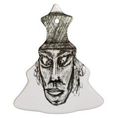 Man With Hat Head Pencil Drawing Illustration Christmas Tree Ornament (2 Sides)