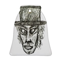 Man With Hat Head Pencil Drawing Illustration Bell Ornament (2 Sides)