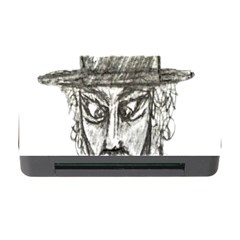 Man With Hat Head Pencil Drawing Illustration Memory Card Reader with CF